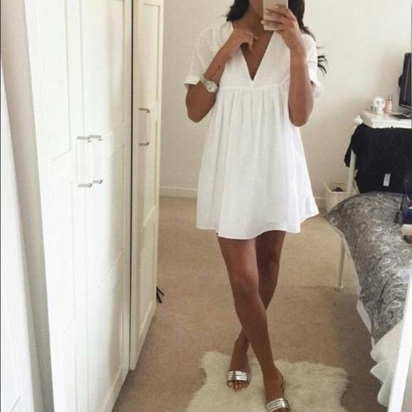 d0cbda76cc3 NWT Zara White Poplin Jumpsuit Dress Romper